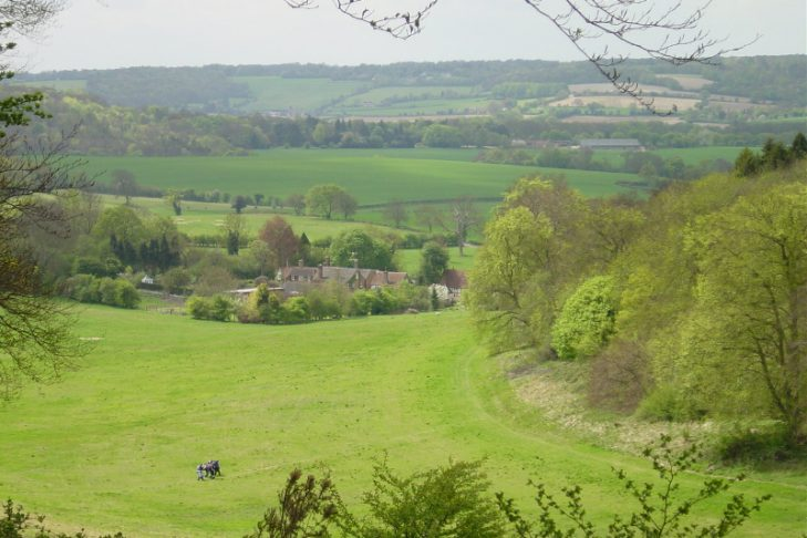 HS2 will cut across the distinctive landscape of the Misborne Valley in the Chilterns AONB
