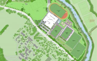 Maiden Castle – Masterplan of proposed grounds including extension to faculty building, sports pitches, ecological enhancements and vehicle parking